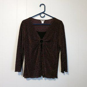Christopher & Banks Petite Black/Red/White Top